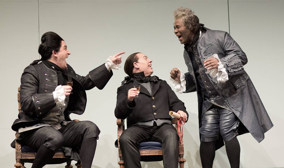 Morgan Smith (Count Almaviva), Alasdair Elliot (Don Curzio) and Arthur Woodley (Dr. Bartolo)  Ph. Philip Newton